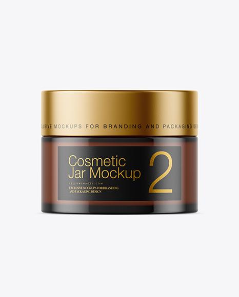 Amber Glass Cosmetic Jar Mockup