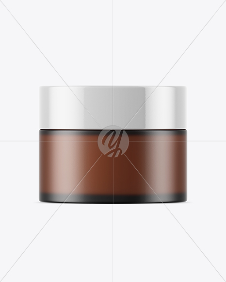 Frosted Amber Glass Cosmetic Jar Mockup