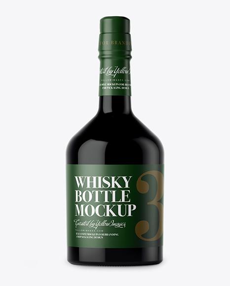 Dark Glass Whiskey Bottle PSD Mockup 29.64MB