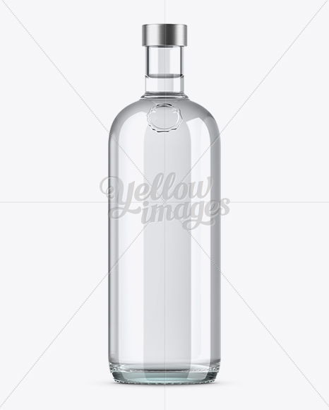 1L Clear Glass Vodka Bottle Mockup
