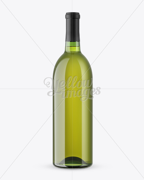 Green Glass Bottle With White Wine Mockup
