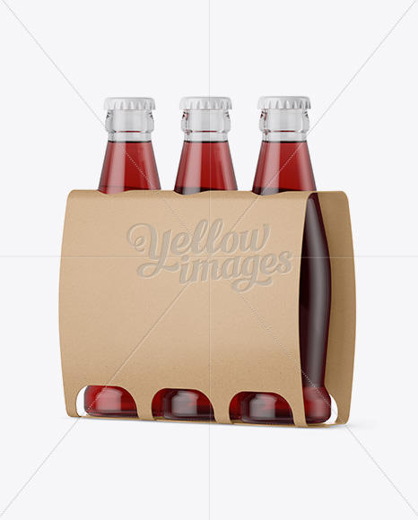 Kraft Paper 3 Pack Red Liquid Bottle Carrier Mockup - Halfside View