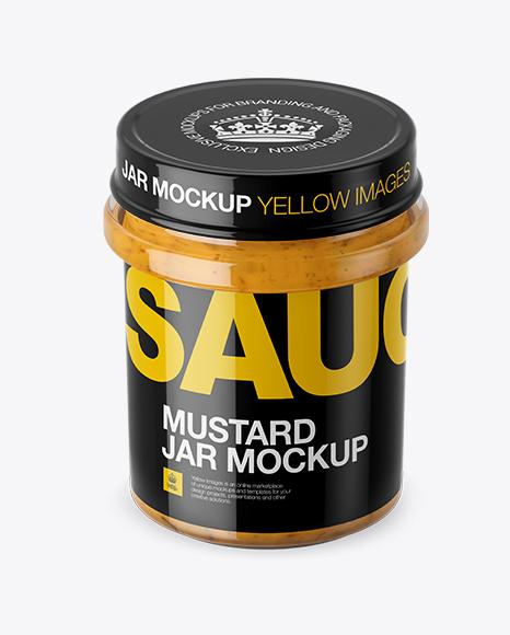 Mustard Glass Jar Mockup (High-Angle Shot)