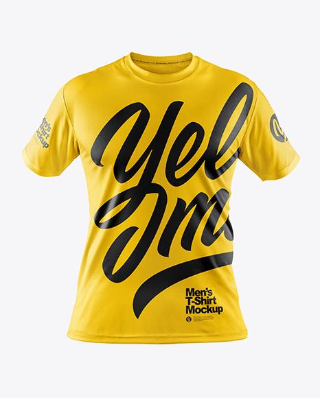 Men's T-Shirt with Mini Eyelet Fabric Mockup