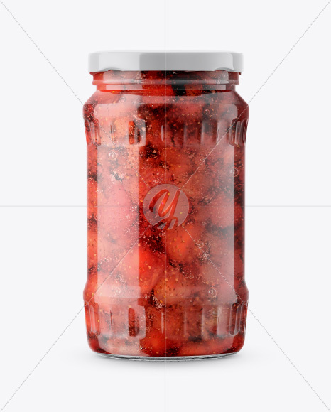 Download Glass Jar With Strawberry Marmalade Mockup Front View PSD - Free PSD Mockup Templates
