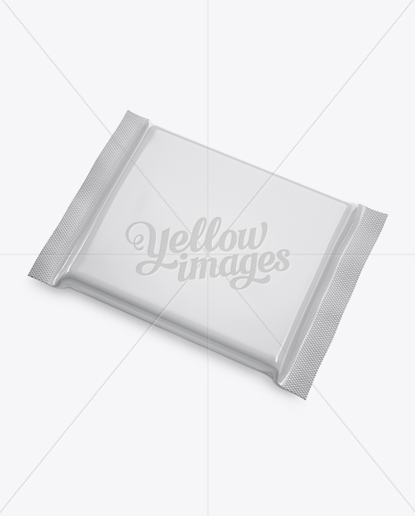 Glossy Square Chocolate Bar Mockup - Halfside View (High-Angle Shot)