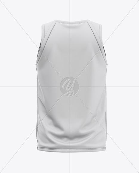 Men's V-Neck Basketball Jersey Mockup - Back View