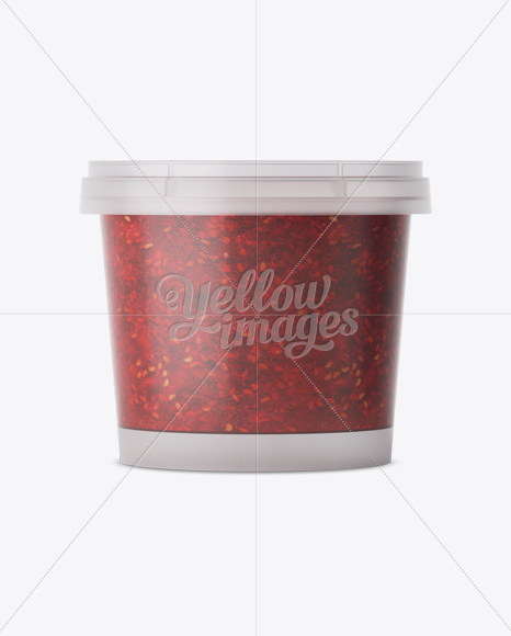 Frosted Plastic Container With Raspberry Jam Mockup - Eye-Level Shot