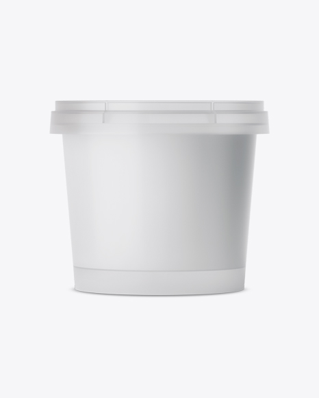 Frosted Plastic Container With Sour Cream Mockup - Eye-Level Shot