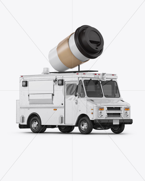 Foodtruck with Coffee Cup Mockup - Half Side View