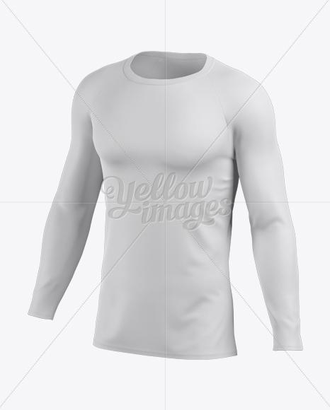 Men's Baseball T-shirt with Long Sleeves Mockup - Halfside View