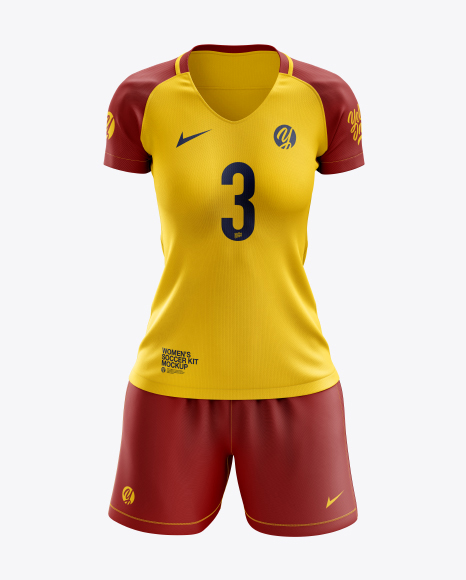 565a893d167 Women's Soccer Kit mockup (Front View) in Apparel Mockups on Yellow ...