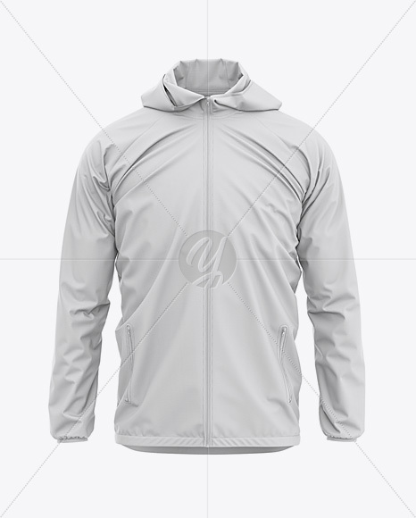 Men's Lightweight Hooded Windbreaker Jacket - Front View
