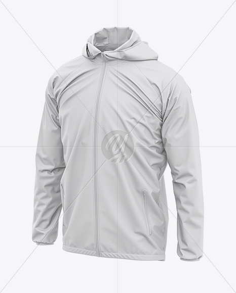 Men's Lightweight Hooded Windbreaker Jacket - Front Half-Side View