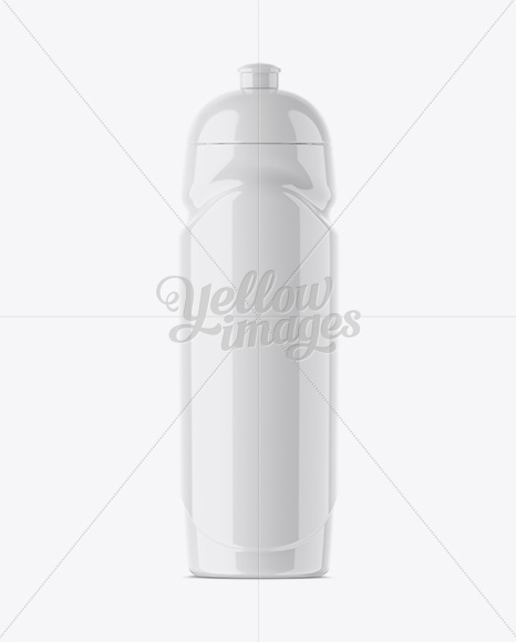Glossy Sport Bottle Mockup - Front View