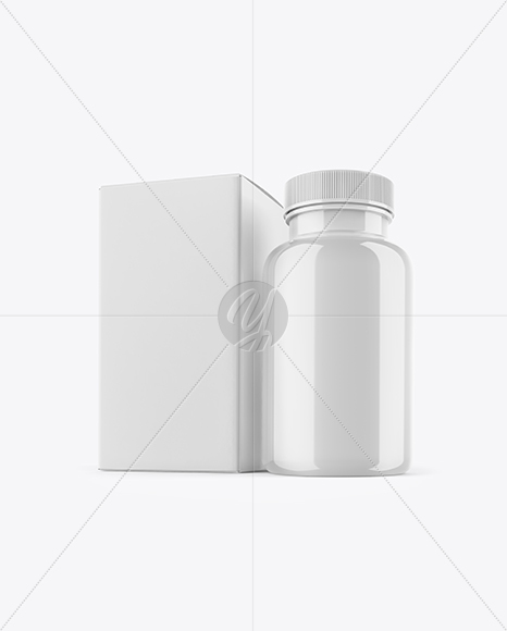 Glossy Pills Bottle With Box Mockup In Bottle Mockups On Yellow