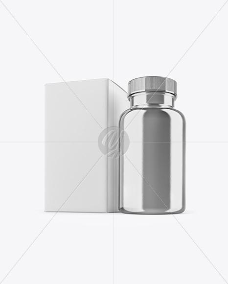 Metallic Pills Bottle With Box Mockup In Bottle Mockups On Yellow
