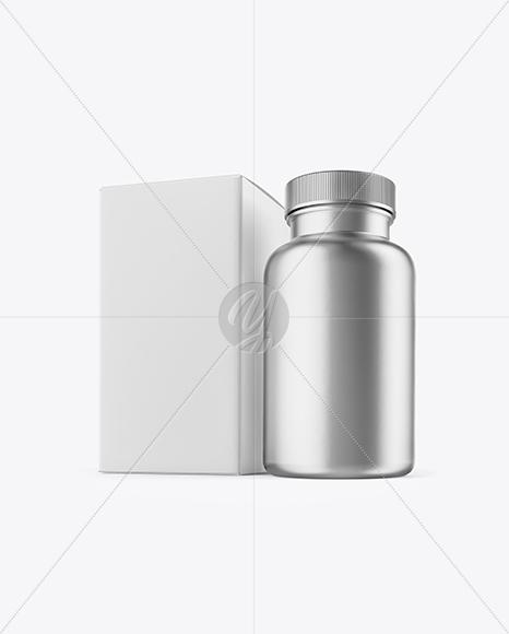 Matte Metallic Pills Bottle With Box Mockup In Bottle Mockups On