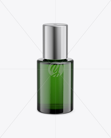 Green Glass Cosmetic Bottle Mockup