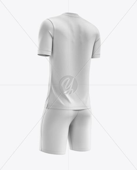 Men's Soccer V-Neck Kit mockup (Back Half Side View)
