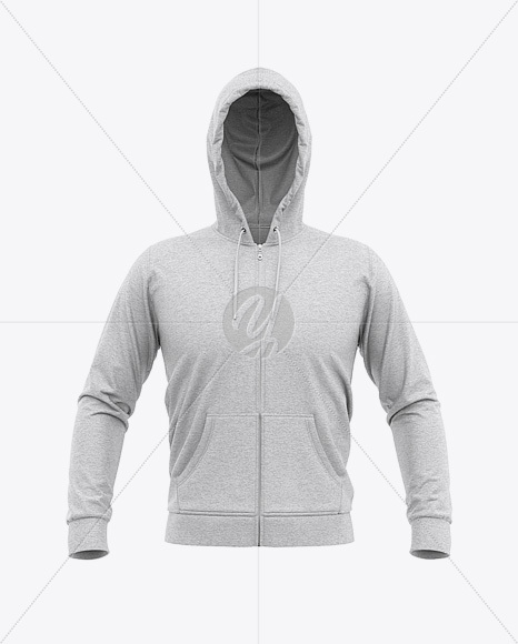 Men's Heather Full-Zip Hoodie Mockup - Front View