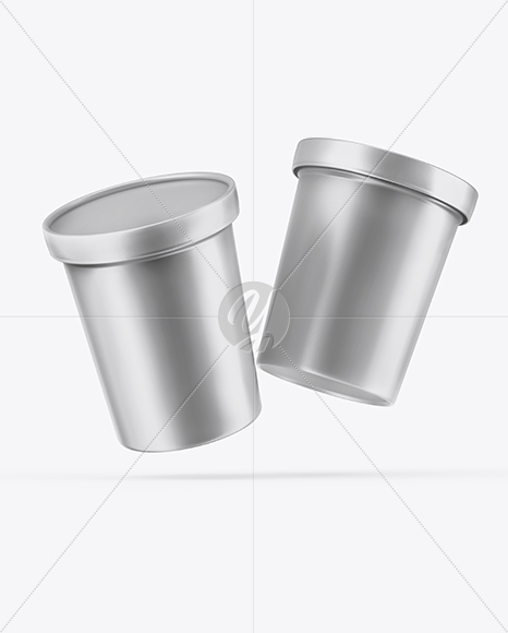 Two Metallized Ice Cream Cups Mockup