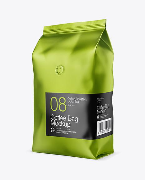 1kg Matte Metallic Coffee Bag Mockup