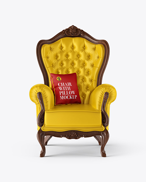 Vintage Chair with Pillow Mockup