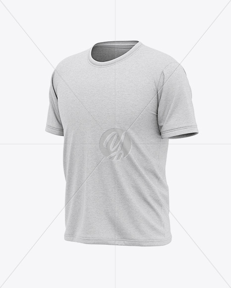 Men's Heather Short Sleeve T-Shirt Mockup - Front Half Side View