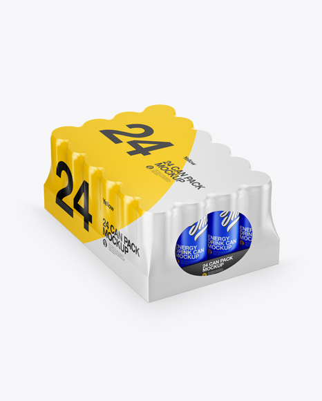 Glossy Pack with 24 Cans Mockup