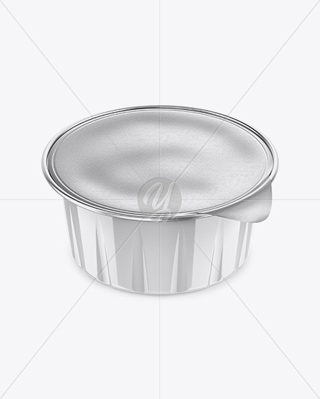 Glossy Cup with Foil Lid Mockup - High-Angle Shot