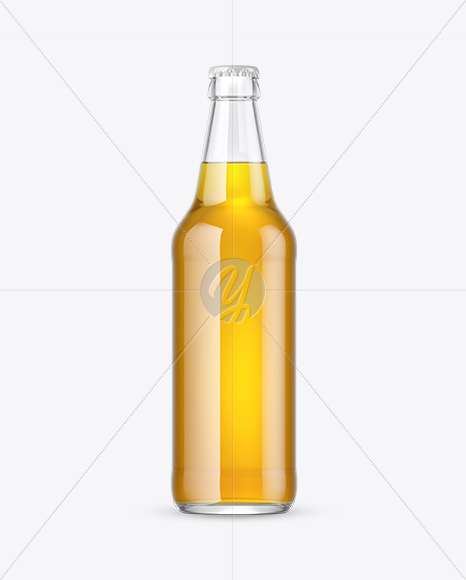 Clear Glass Lager Beer Bottle Mockup