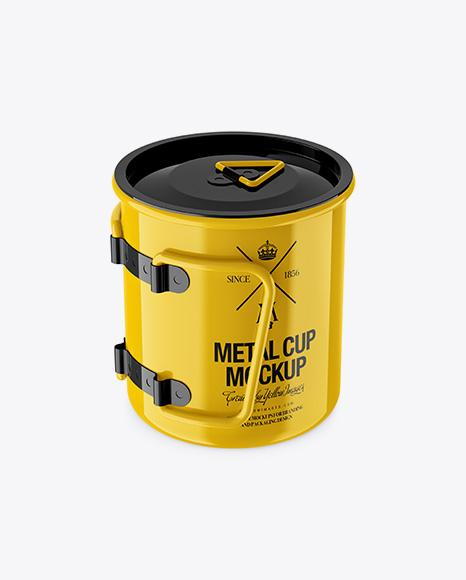 Glossy Metal Cup Mockup