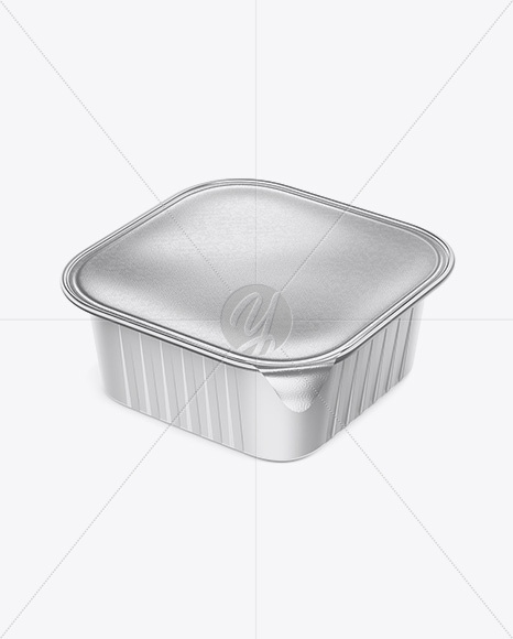 Square Matte Cup with Foil Lid Mockup - Half Side View (High-Angle Shot)