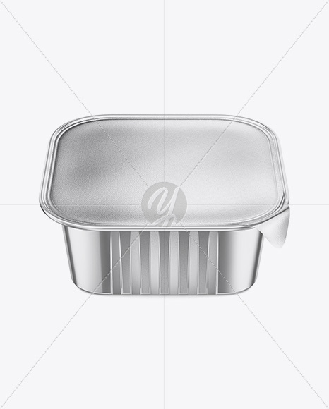 Square Metallic Cup with Foil Lid Mockup - High-Angle Shot