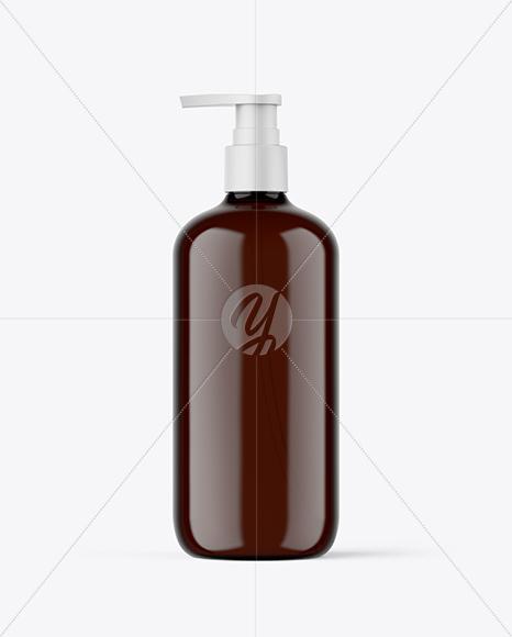 Amber Plastic Bottle with Pump Mockup