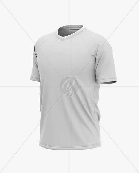 Men's Raglan Short Sleeve T-Shirt Mockup - Front Half Side View
