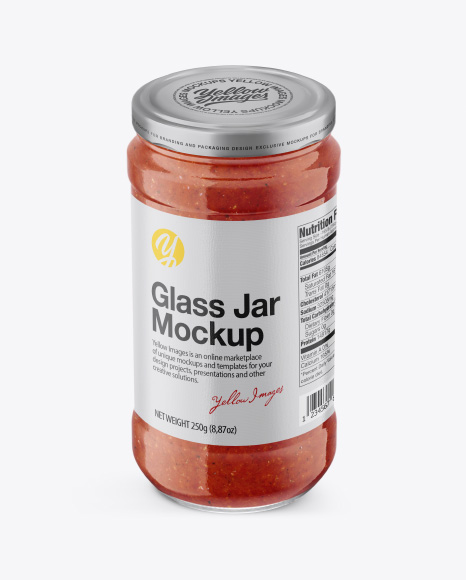 Glass Jar with Sauce Mockup - High Angle Shot
