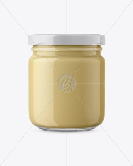Glass Jar with Creamed Honey Mockup