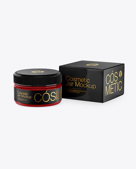 Download Glossy Cosmetic Jar With Box Mockup PSD - Free PSD Mockup Templates