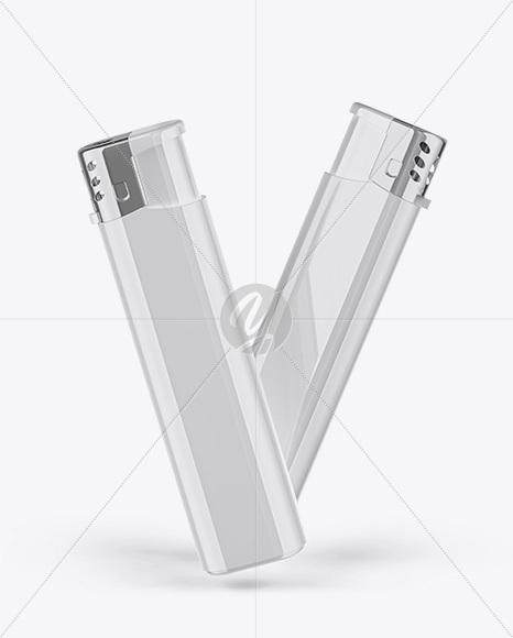 Glossy Plastic Lighter Mockup