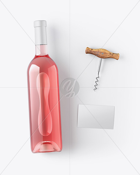 Pink Wine Bottle w/ Corkscrew and Card Mockup