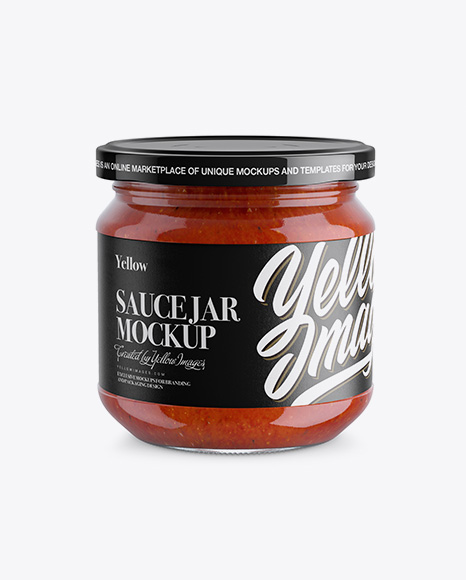Glass Jar With Sauce Mockup