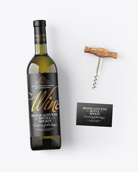 Antique Green Wine Bottle w/ Corkscrew and Card Mockup