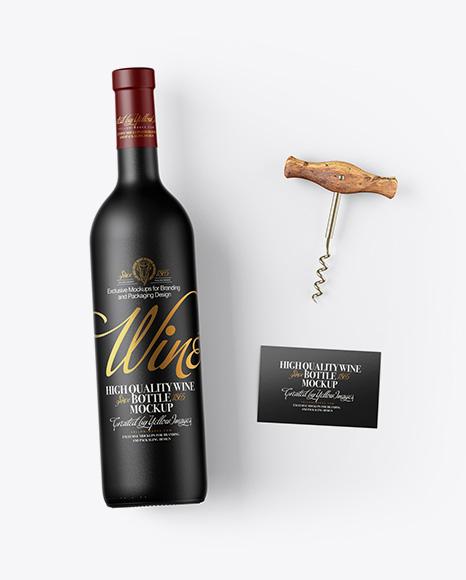 Ceramic Wine Bottle w/ Corkscrew and Card Mockup