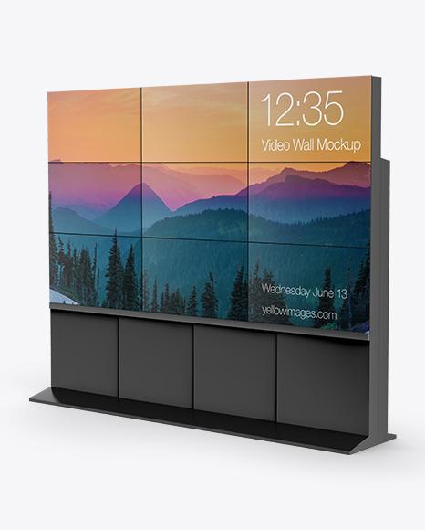 LCD Video Wall Mockup - Half Side View