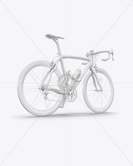 Road Bicycle Mockup - Back Half Side View