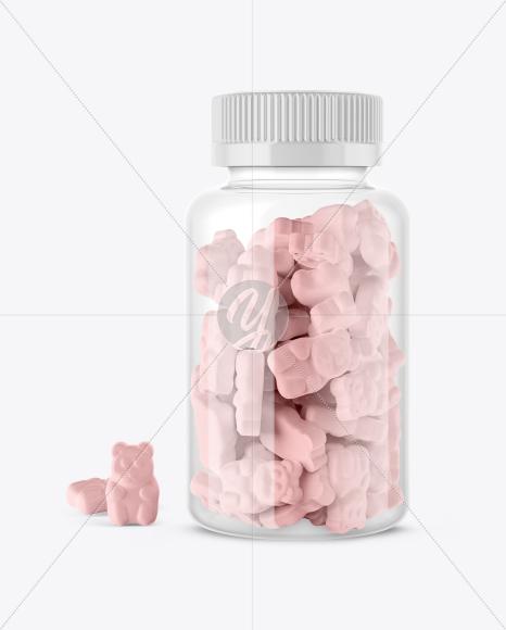 Plastic Bottle with Gummies Mockup