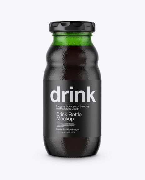 Green Glass Bottle with Dark Drink Mockup