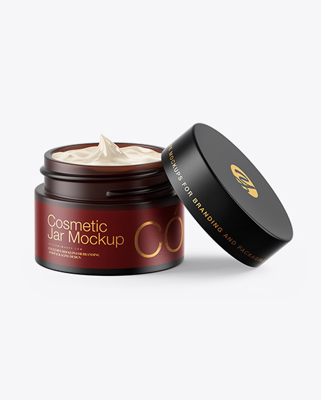 Download Frosted Dark Amber Glass Cosmetic Jar Mockup PSD - Free PSD Mockup Templates